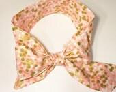 Fabric Bow Headwrap - Pink and Metallic Gold Polka Dots - Infant Headband - Fabric Headband - Baby Headband - Toddler Headband Gold Metallic