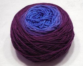 Pearl 250 - Gradient yarn extrafine merino yarn DK weight wool handdyed yarn 97-100g (3.4-3.5oz) - Sapphire to purple wine