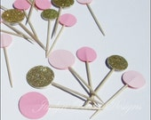 Pink And Gold, Cupcake Toppers, Glitter Party Decorations, Appetizer Picks, Bridal Shower, Girl Baby Shower, Weddings, Birthdays, Set Of 12