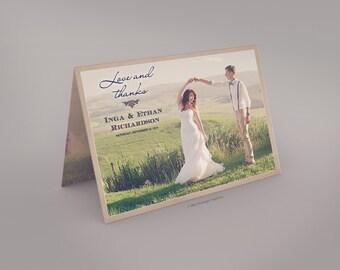 """Folded Vintage Wedding Thank You Card - the """"Inga"""""""