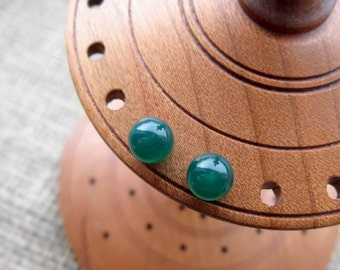 Green Agate silver studs - Sterling silver 6mm crystal ball post earrings Green Onyx