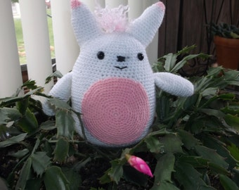 "Stuffed Animal - Totoro in White and Pink - 7"" Tall"