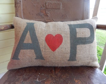 Personalized Love Initials Burlap Throw Accent Pillow Custom Colors Available Wedding Anniversary Gift Home Decor