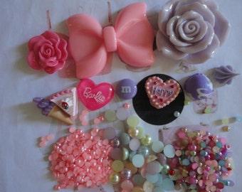 Kawaii decoden phone deco diy cabochon pink bow kit  B  45---USA seller