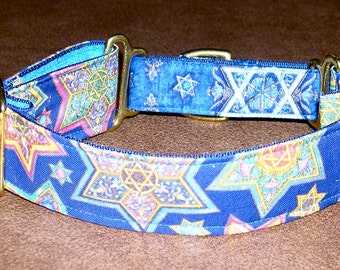 Martingale Collar 1.5 Inch Wide Star of David on Blue