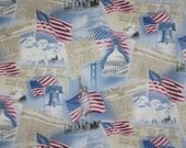 USA Patriotic Print Pure Cotton Fabric--One Yard