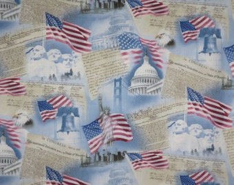 USA Patriotic Print Pure Cotton Fabric--One Yard