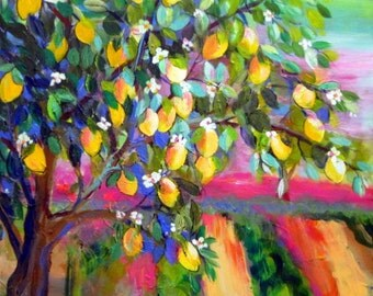 Lemon Tree Large Landscape Original Painting wall art Canvas art landscape painting 24 x 36 Art by Elaine Cory