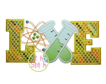 Science Love Applique Design For Machine Embroidery INSTANT DOWNLOAD now available
