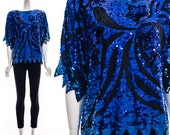 Vintage RARE 70s SHOOTING STAR Blue Sequin Top beaded Blouse Silk Trophy Blouse Heavily Beaded Slouchy Small Medium