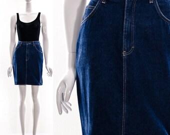 Vintage 80s Denim Pencil Skirt Mini Skirt High Waist Medium Dark Wash Skirt Small Medium