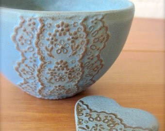 Bronze Blue Ceramic Lace Bowl with Heart Lace Cutlery Rest Set-Hideminy Lace Series