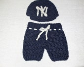 Baby Boy Outfits, Baby Short Pants and Hat Set, Blue, Boy, Baseball Team, Yankees, Baby Shower Gift, Giraffe, (0-3 months), Ready To Ship
