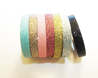 Glitter Ribbon - 5mm(2/8''), and 10mm(3/8'') - Gold, Silver, Hot Pink, Pink, Rose Pink, Mint, and Black
