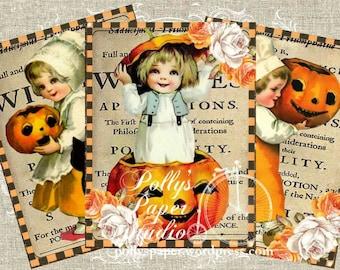 Vintage Halloween with Roses Digital Images printable download file 4 images