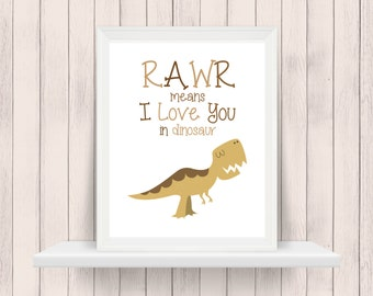 Rawr! I Love You in Dinosaur | Nursery Art | Wall Art | Nursery Decor | 5x7 | 8x10 | 11x14