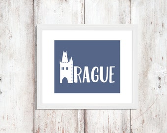 Custom Colors | Prauge | Czech Republic | Europe | Nursery Art | Wall Art | Subway Art | Home Decor | 5x7 | 8x10 | 11x14 | 16x20