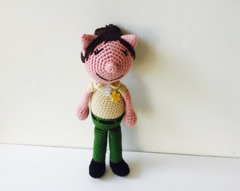 Crochet Pig Deputy Sheriff Pig Cop Police Officer police woman amigurumi