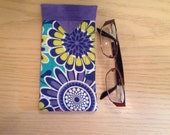 Floral Quilted Fabric Eyeglasses Snap Case