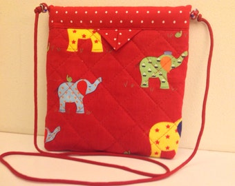 "Elephants Quilted Fabric Handbag Purse Handmade 8"" x 8-1/2"""