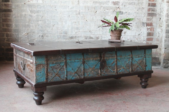 Indian Trunk Coffee Table Reclaimed Trunk Coffee Table Rust And Jade Green  Iron And