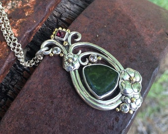 Tourmaline, Spinel & White Sapphire Metalwork Necklace - Paisley Necklace