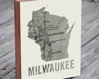 Milwaukee Art - Milwaukee Map - Milwaukee Print - Wood block Art Print