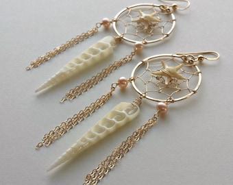Starfish Dream Catcher Earrings, Dream Catcher Hoops, Starfish Hoop Earrings, Wire Wrapped Shell Hoops, Bohemian Hoops, Sea Star Earrings