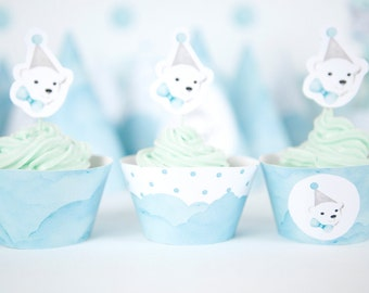 Snow Party Printables - Set of 3 Printable Cupcake Wrappers for Polar Bear Party - Winter Wonderland Party Decor, Light Blue Boys Party