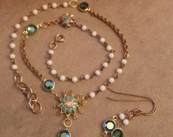 Victorian Inspired Necklace and Earrings Set, Repurposed Vintage Pieces, Starburst Accent