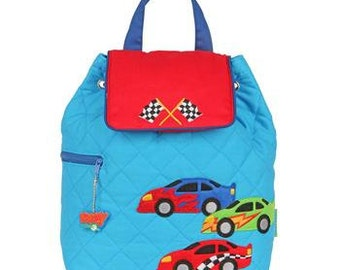 SHIPS NEXT DAY--Personalized Monogrammed --New Pattern-- Stephen Joseph Kid Quilted Racecar Racer  Backpack--Free Monogramming--