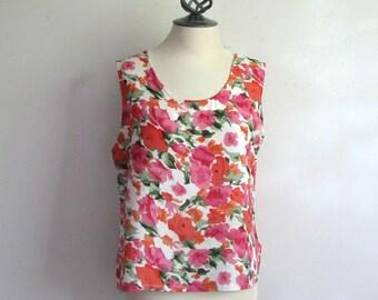 Vintage 1980s Tank Top Pink-Orange Sleeveless Top Large