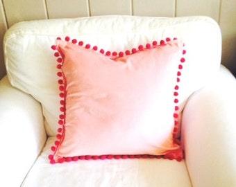 Fuchsia Pink on Pink Velvet Pillow Cover