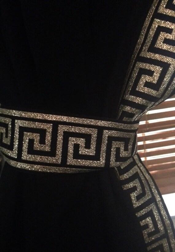 Black Curtain With Black And Gold Greek Key Trim