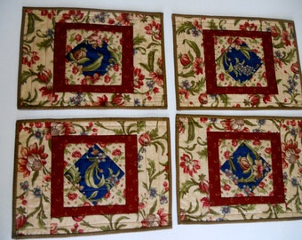Elegant Quilted Placemats, Fabric Placemats, Quilted Table Decor, Reproduction Fabrics, Handmade Placemats, Navy Burgundy Olive