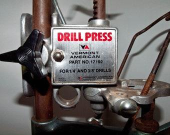"Vintage Black & Decker 1/4"" Drill Stand w/Vermont American Drill Press"