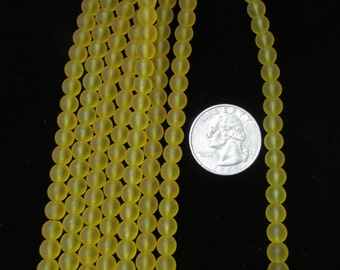 Simulated Sea Glass 8mm Rounds Goldenrod