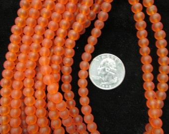 Simulated Sea Glass 8mm Rounds Dk Orange