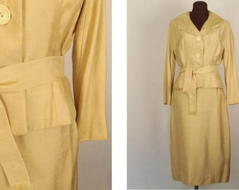 Vintage 50's 60's Raw Silk Women's Suit Two Piece Buttery Yellow Size M / Medium
