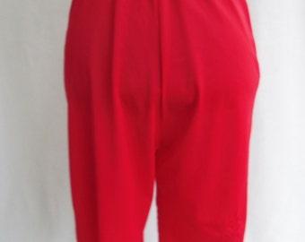 Vintage 50's 60's Tap Pants Panties Underwear Red Nylon Size M / Medium Lingerie