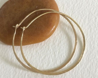 1 3/4 inch 14K Solid Gold Large Endless Hoops (18 gauge) Bright Finish Extra Large Hammered Endless Hoops