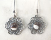 Reserved Listing ---Crazy Horse Jasper and Sterling Silver Filigree Drop and Dangle Earrings with Antique FInish