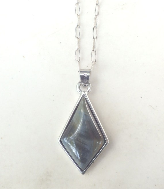 Blue Tigers Eye and Sterling Silver Pendant Necklace