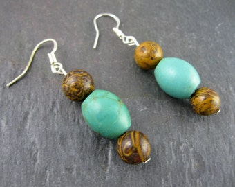 Turquoise and Elephant Skin Bead Earrings