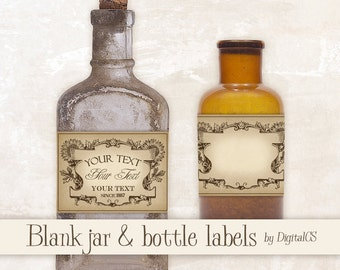 Printable apothecary labels for jars Jar labels Vintage labels vintage tags printable tags digital tags Digital collage sheet Digital frames