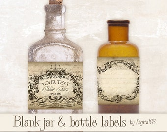 Printable Jar labels Apothecary labels for jars Vintage labels vintage tags printable tags digital tags Digital collage sheet Digital frames