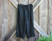 washed linen pant with pleated ruffle in black ready to ship