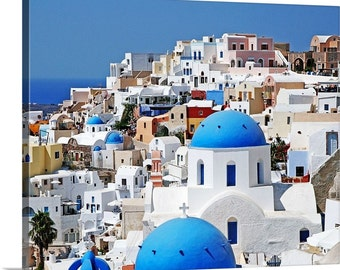 Santorini Canvas Art - Greece Photography - Oia Wall Decor - Blue and White Art - Large Wall Art - Gallery Wrapped Canvas  Ready to Hang Art