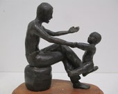 Father and Child Bronze Sculpture Fine Art - Wonderful, Classic Father's Day Gift