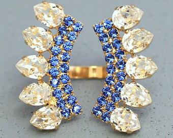 Crystal Swarovski Statement Ring, Swarovski Crystal Cocktail Ring,Swarovski Blue Navy Ring,Trending Rhinestone Big Ring,Blue White Ring
